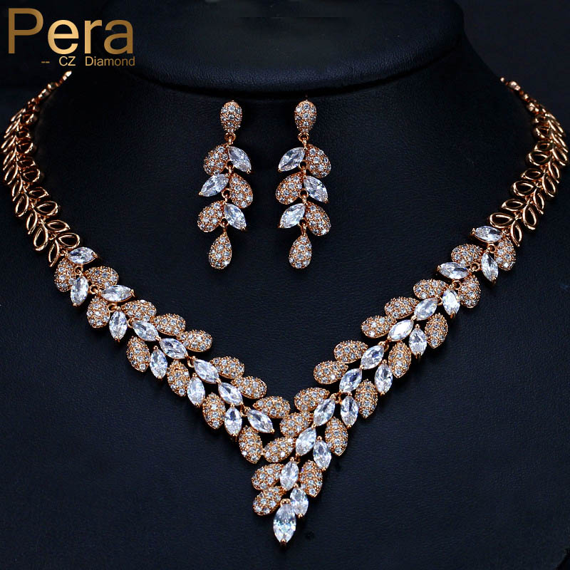 Pera Luxury Dubai Women Wedding Set Big Cubic Zirconia Stone Leaf Shape Long Drop Necklace And Earrings For Brides Jewelry J246 a suit of stylish rhinestone maple leaf necklace and earrings for women