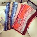 2017 New Women Geometric stripes Printed Designer Scarf Summer Beach Gradient Plaid Flower Casual Silk Scarves Long Wrap D113