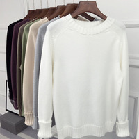 Loose O Neck Pullover Sweater Female Autumn And Winter Long Sleeve All Match Basic Sweater