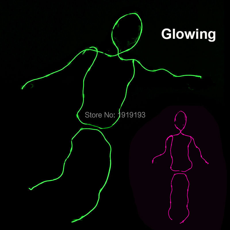 Hot selling 10 Color Choice Glowing EL wire Matchstick Men Sparkling Neon Led strip Cosplay Dance Costumes Christmas Decoration new arrival colorful neon led bulbs melbourne shuffle dance costume night lamp el wire bright ghost step suit for concert party