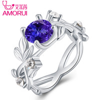 AMORUI Fashion Floral Blue CZ Stone Queen Ring Silver Leaf Blue Crystal Ring Gift Engagement/Wedding Party Rings for Women 3