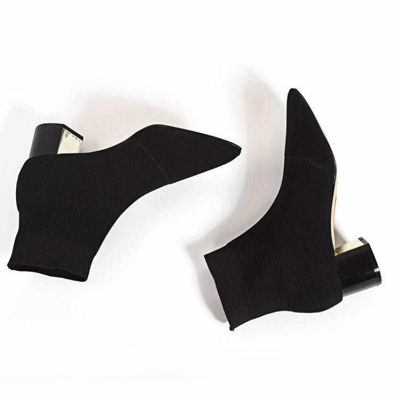 Sexy Vrouwen Enkellaarsjes Puntschoen Vrouwen Gebreide Elastische Sokken Laarzen Medium Hakken Vrouwelijke Mode Schoenen Lente Herfst 2019