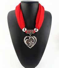 Women Ladies Jewelry Heart Gemstone Necklace Scarf Stole Charm Pendant Accessories