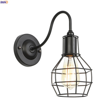 best loved 12944 8b37f IWHD Black Iron Metal Edison Wall Sconce Home Living Room Stair Light Loft  Industrial LED Wall Lamp Wandlamp Applique Murale