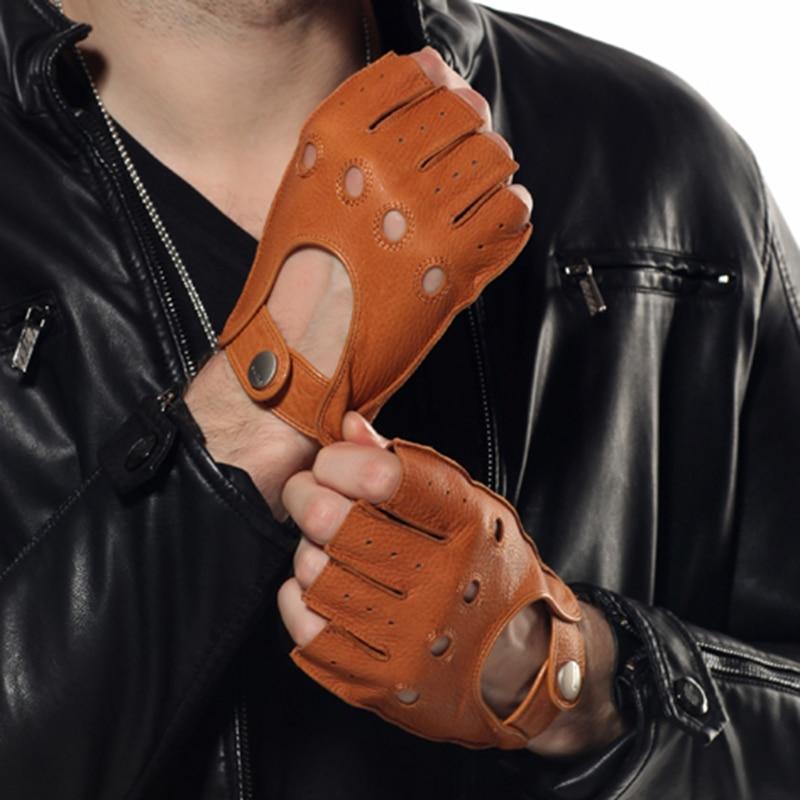 HOT Sale Semi-Finger Genuine Leather Men Gloves Male High Quality Deerskin Breathable Half-Fingers Gloves Unlined EM001W-1