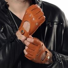 2014 winter deerskin gloves men wrist Genuine leather 3 colors warmth gentlemen driving EM001W