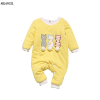Milancel Baby Rompers Winter Jumpsuit For Baby Girls Clothing Kitty Style Overalls For Baby Boys Newborn
