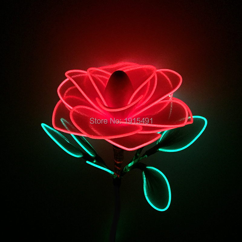 2017 New Arrival Led Strip Glisten Funky Artificial Rose Concert Event Party Supplies EL Cold Light Beautiful Colorful Flower