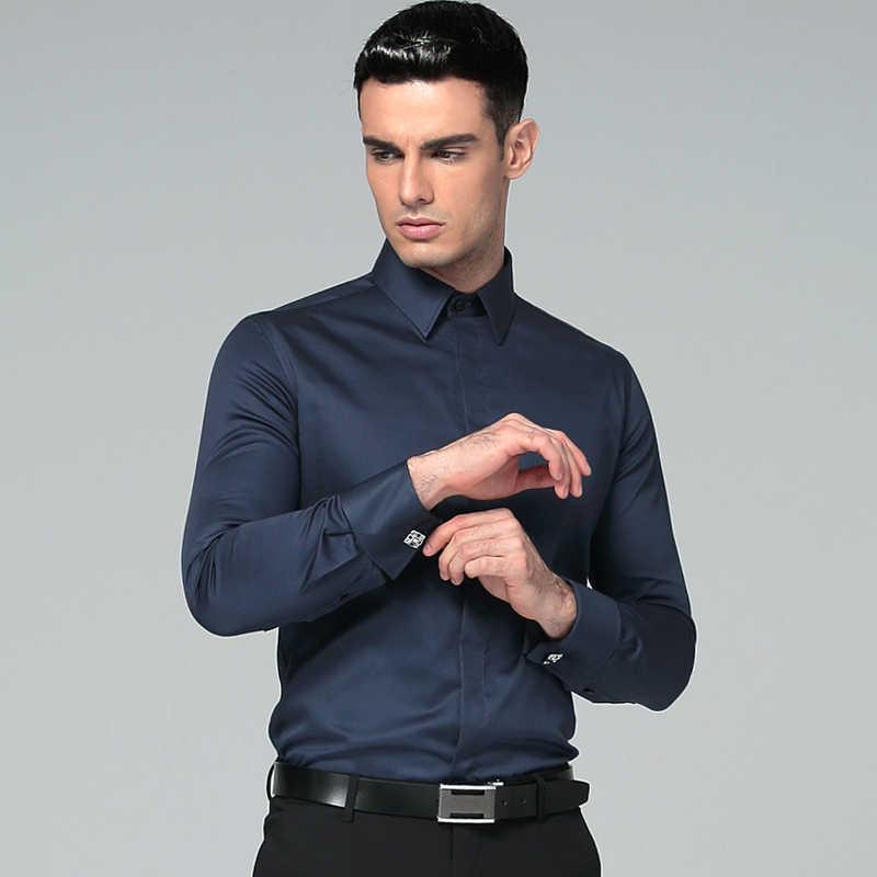 3de24715c92 ... Для мужчин платье рубашка хлопок 2018 Бренды НОВЫЙ Regular Fit Рубашки  с запонками бизнес с длинным ...