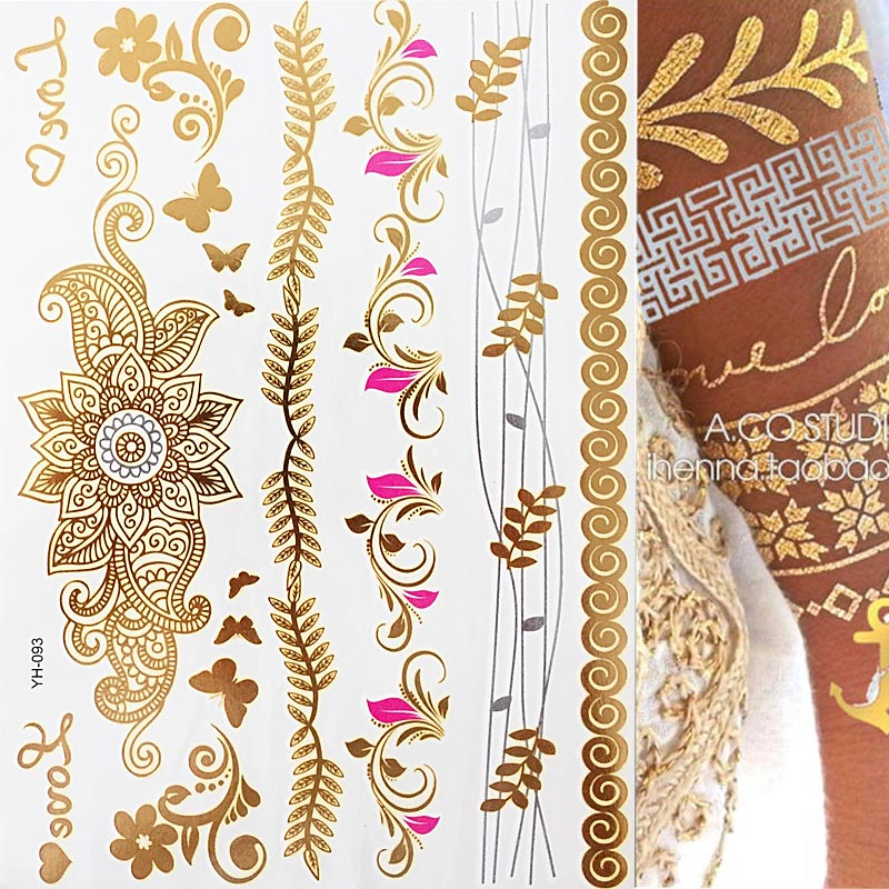 1 Sheet Flash Boho Metallic Gold Feathers Shimmering Jewellery Festival Temporary Tattoo