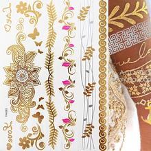 Plumes dorées métalliques style Boho, tatouage temporaire, bijoux scintillants, Festival, 1 feuille