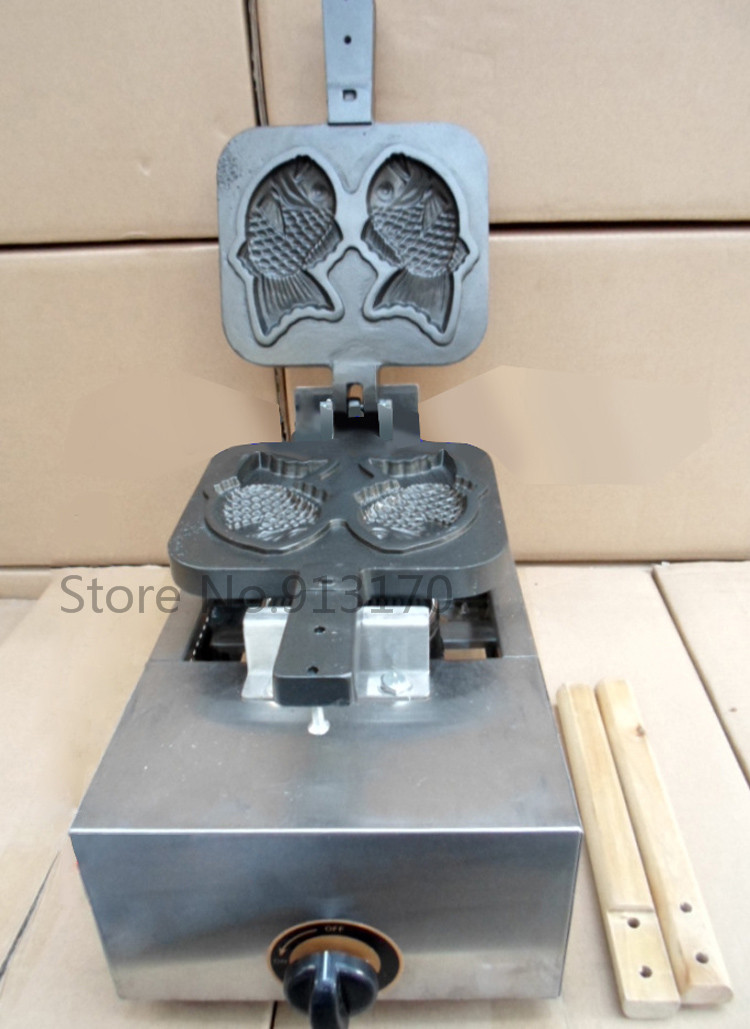все цены на Gas Fish-shape Cake Maker Taiyaki Waffle Machine Double Moulds for Fish-shape Waffle Making