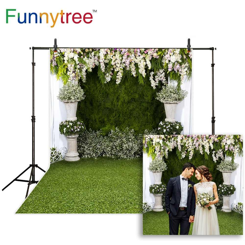 DORCEV 10x8ft Outdoor Lawn Wedding Photography Backdrop Green Meadow Flower Leaves Arch White Dreamcatcher Background Honeymoon Travel Lover Portraits Photo Studio Props