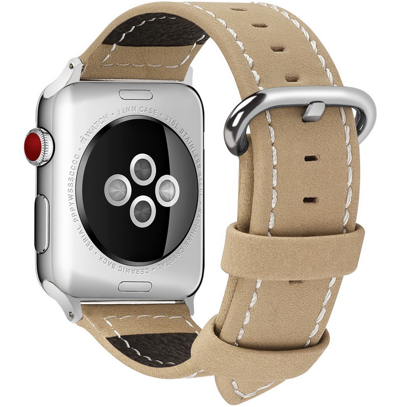 For Apple Watch Band, Calf Leather Strap Replacement Band/Strap with Stainless Steel Clasp for Apple iWatch Series 1 2 3