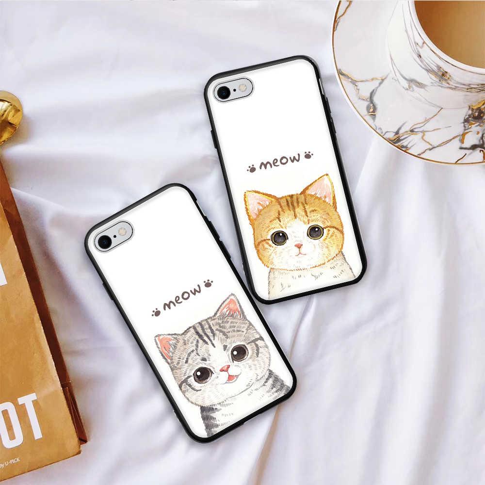 Siliocne TPU 電話カバーケース iphone × 7 8 6 s 6 プラス XS 5 5 s SE かわいい漫画の猫塗装カバー iphone XS 最大 XR キャパ