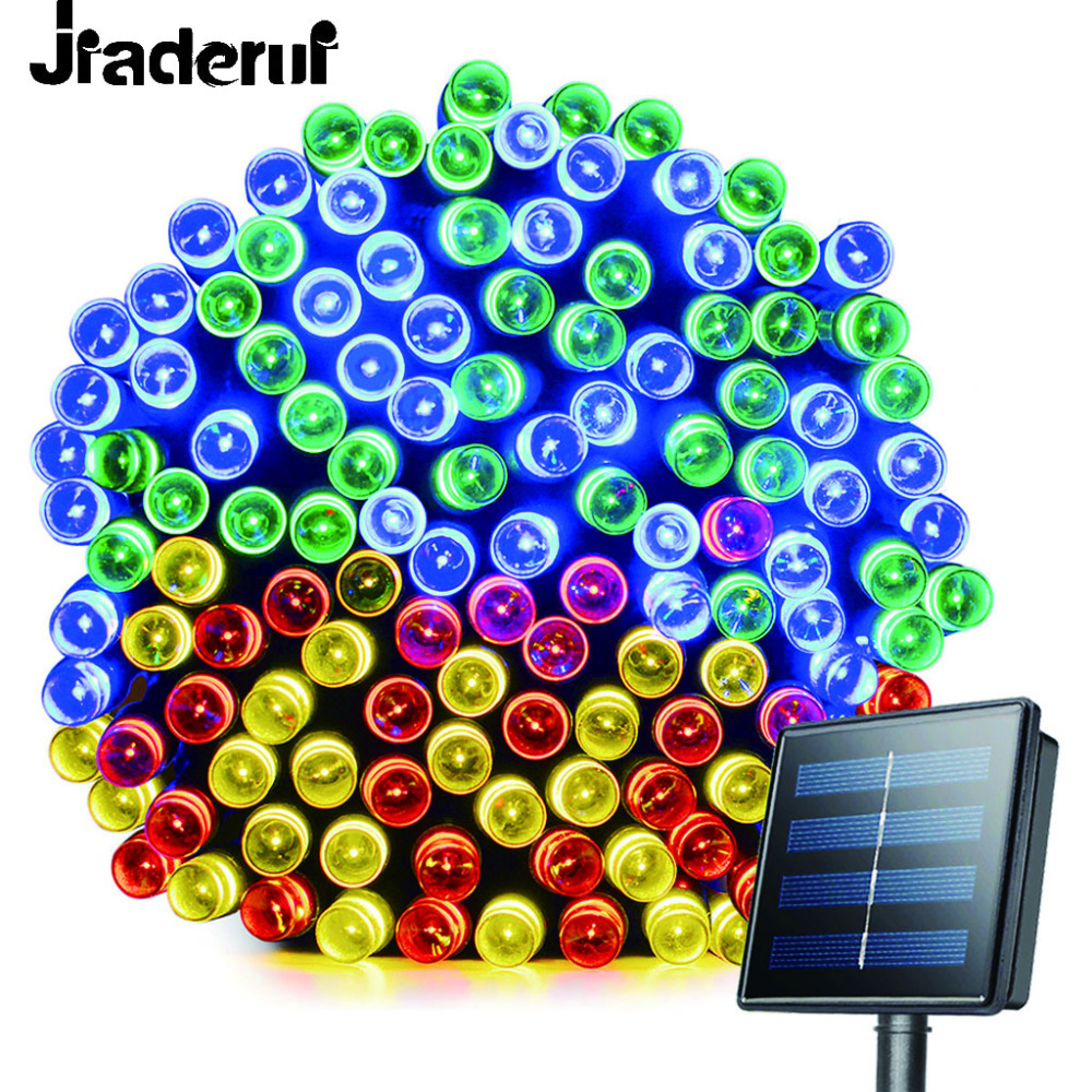 Jiaderui LED Solar Light 72ft 22meter 200 LED 8 Modes Garden Light Led Solar Lamp Garden Lighting Holiday Outdoor Decor Lights