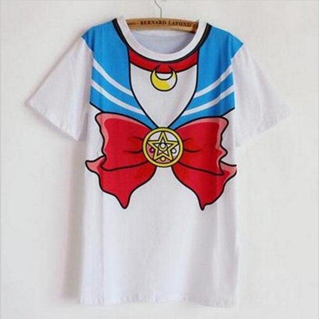 new Hot Sailor moon harajuku t shirt 2018 women cosplay costume top kawaii fake sailor t shirts girl new Free Shipping SALMOPH