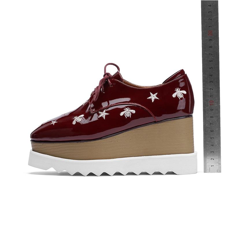 Femmes Décontracté Taille Chaussures Grande Pour Rouge Talons Printemps Nouveauté Mnixuan Hauts Coins forme 2019 Verni En Bout Appartements vin Carré Cuir Plate Mode Noir 7xqxRwOZ