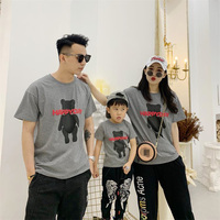Adult1pc+Kid*1pc XXXL Father Mother Boys T shirts Short Sleeve Bear Print Summer Tops Family Matching Clothes Mom Dad Girl Shirt