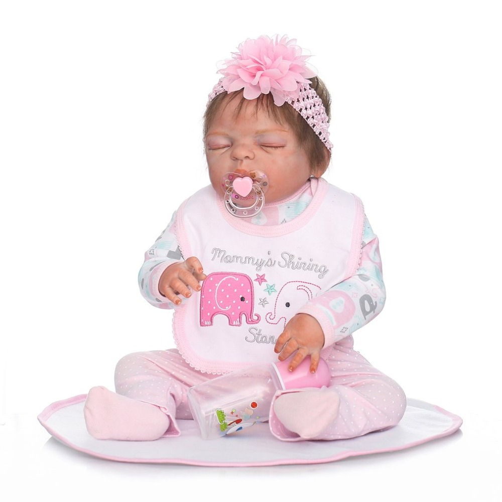 22 Inch Kids Baby Reborn Doll Toy Full Body Silicone Lifelike Sleeping Newborn Doll Toys For Girl Touch Soft Best Birthday Gift new 45cm silicone vinyl doll reborn baby dolls girl toys soft body lifelike newborn toy best gift for kid child