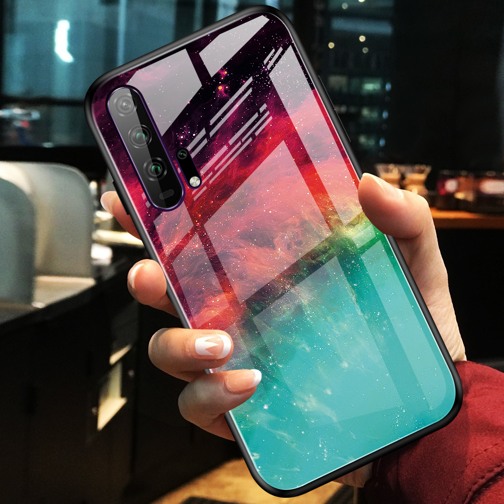 Phone Case for Huawei Honor 20 Case Cover Luxury Marble Tempered Glass Soft TPU Frame Case Fundas for Huawei Honor 20 Pro Cover image
