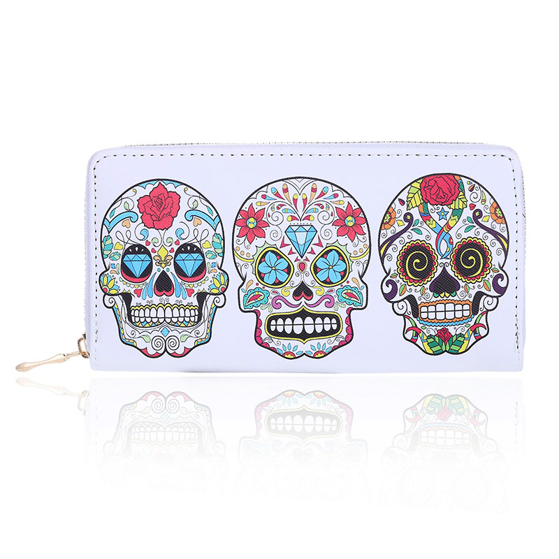 Female Purse Skull Expression Printing Women Wallet Zipper Design Clutch Purse For Woman Ladies Phone Holder Card Holder 2016 hot baby infant animal soft rattles bed crib stroller music hanging bell toy dog baby development gifts plush toys