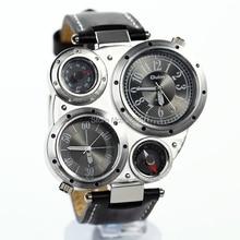 2015 la nueva manera fresca dual time hombres correa de cuero de alta calidad de acero militar del ejército diseño de deporte al aire libre reloj de pulsera de cuarzo