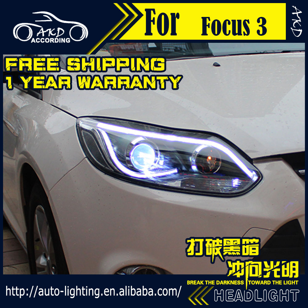 Akd car styling headlight assembly for ford focus led headlight 2012 2014 focus 3 drl