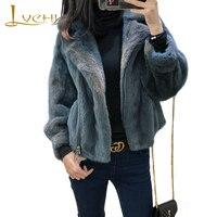 LVCHI Winter 2019 Women's Pure Color Mink Coats Natural Fur Long Sleeve Mink Coat Full Pelt Turn Down Collar Short Mink Coats