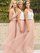 Trendy Blush Bridesmaid Dresses Sexy V Neck A Line Prom Dresses Cheap Bridesmaid Gown Vestido De