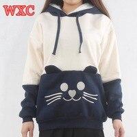 Sıcak cat wmen hoodies japon kawaii giyim kulak geri kuyruk yay ile kapşonlu sweatshirt kazaklar wxc