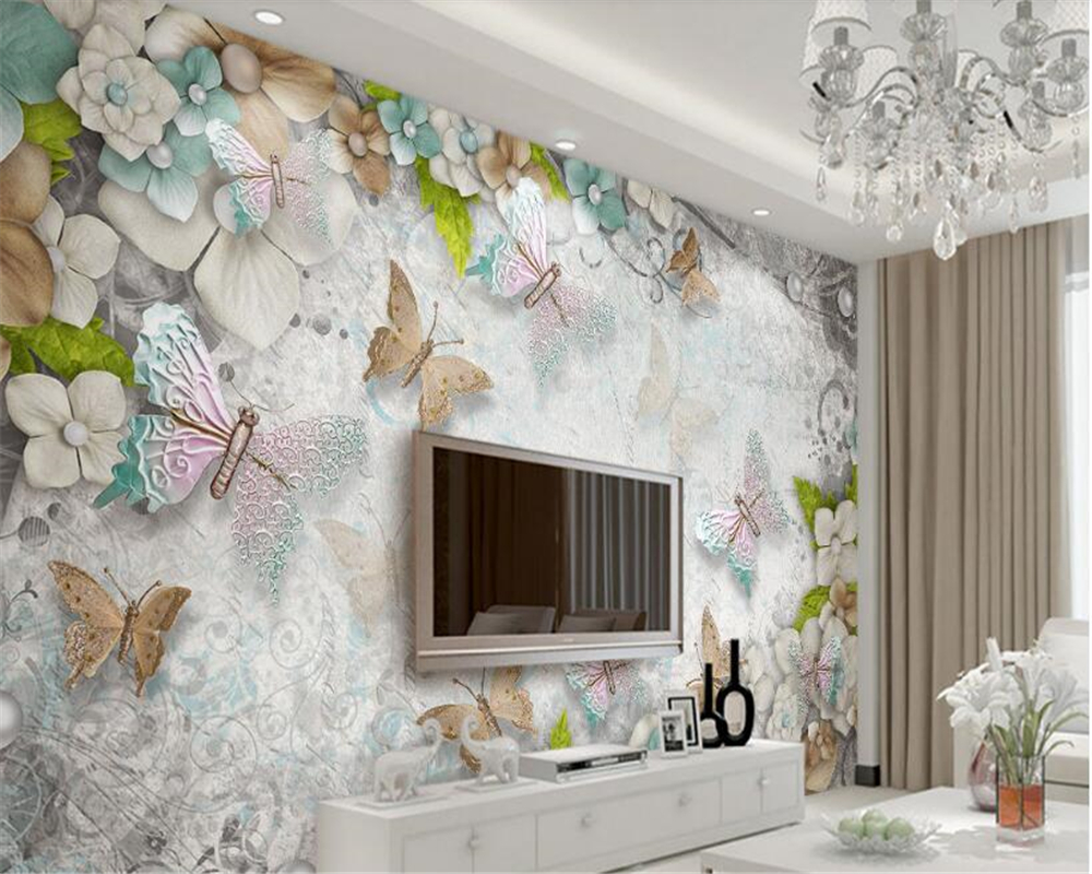 beibehang Fantasy stereoscopic personality wall paper gorgeous Mediterranean butterfly flower pearl TV background 3d wallpaper