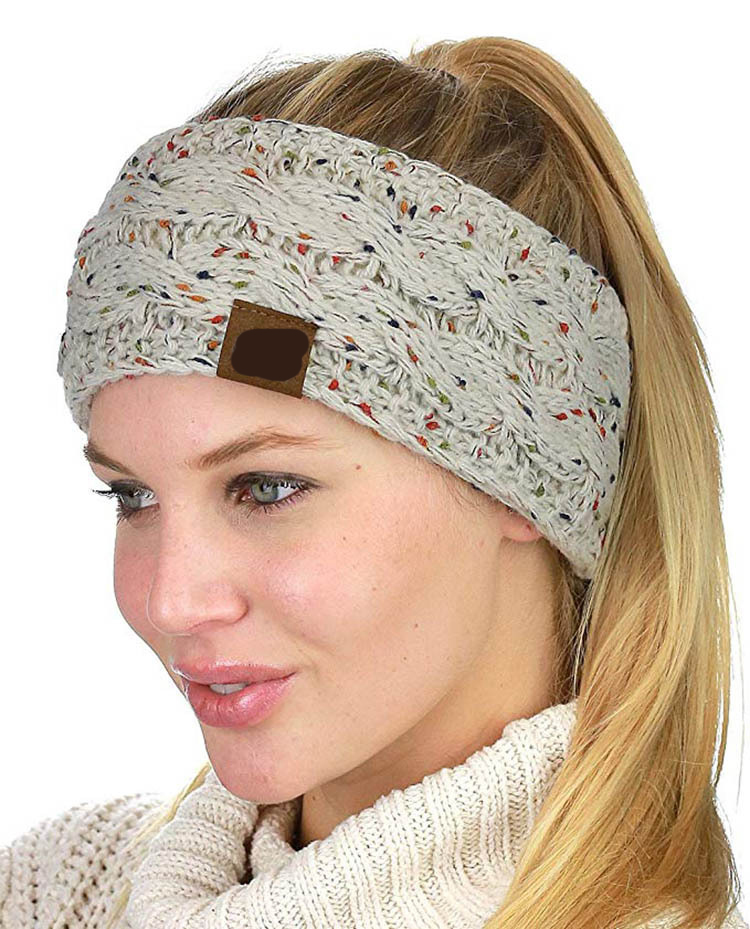 20 цветов разноцветный вязаный крючком Твист женский головной убор зимний ушной теплый Эластичный ободок для волос для женщин s