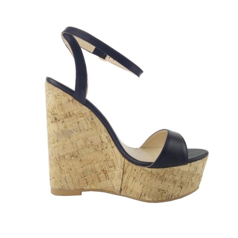 Cuña Gratuito Hermoso Moda Envío Mujer Zapatos De Cm 34 Tela Tamaño Mujer Negro Cuero marrón 15 Sandalias 45 Shofoo tzxpqpw5B