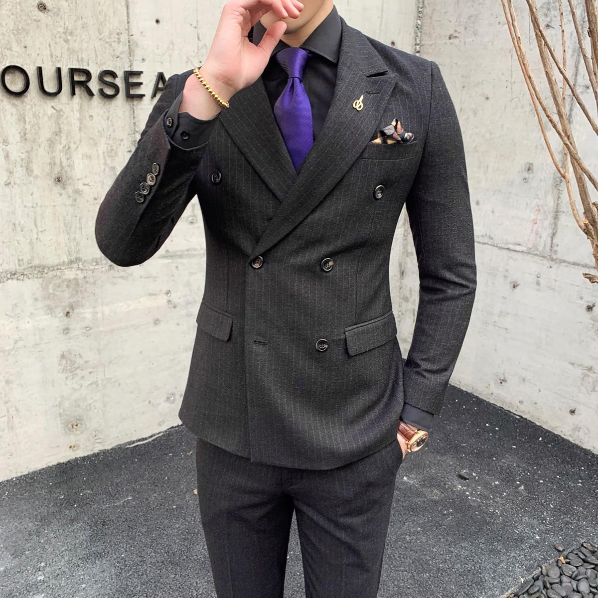 Slim De Rayé Pièce Breasted marine Affaires Costumes Terno Mens Double Masculino gris Hommes Smoking Mariage Social Pour 3 Noir Bleu bleu Gris Fit wvSq7x