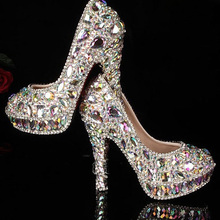 Factory manufacture colorful rhinestones with platform high heels bridal wedding shoes AB crystal Shoes for Wedding Ceremony