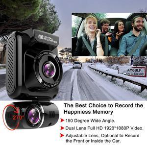 """Image 2 - Ruccess DVR 2.0 """"GPS 車 DVR カメラデュアルレンズダッシュカムフル Hd 1080 1080p 車カメラレコーダー 150 度ナイトビジョン G センサー WDR"""