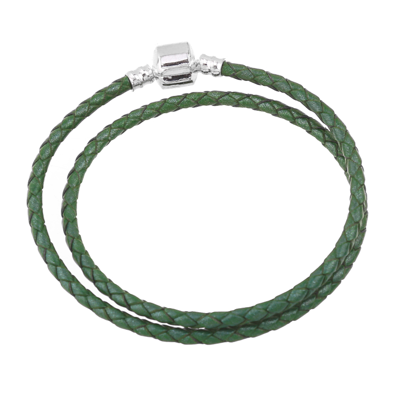 100% Real Leather Silver Plated Green Genuine Leather Women Bracelet Fit European Bead Charm DIY Women Jewelry