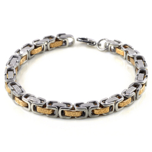 Trendy Carved Gold Silver 316L Stainless Steel Chain Bracelet Bangle for Men Charm Woman Cuff Bangles Wristband 22cm