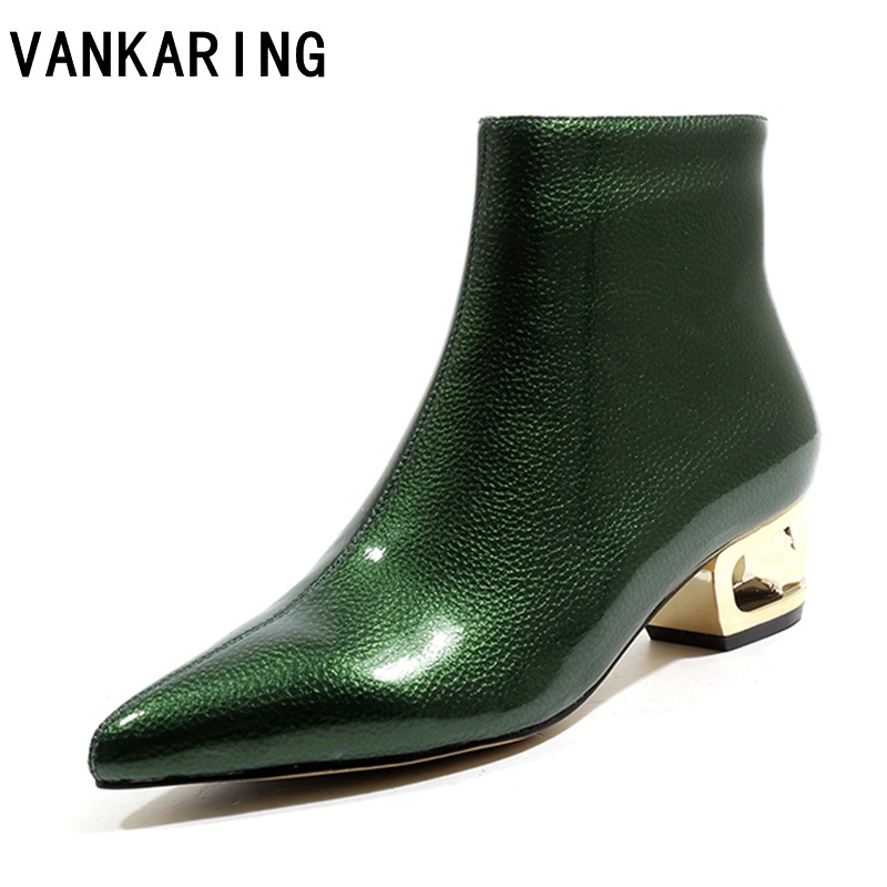 VANKARING 2018 women short boots square high heel patent leather ankle boots for women solid platform zipper winter boots womenVANKARING 2018 women short boots square high heel patent leather ankle boots for women solid platform zipper winter boots women