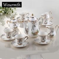 Wourmth 15 шт. Европа Стиль качество костяного фарфора кофе чай Комплект: 1 горшок + сливочник + сахарница 6 Чашки Блюдца