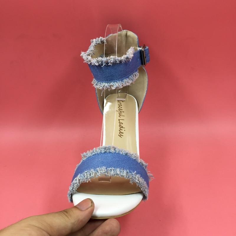 Blau Größe Sommer Frauen Farbe Custom Stil 15 Schuhe Kim 4 Ankle Echt Sandalen Trim Kardashian 2016 Vintage Fotos Strap Neue fH8qwWB66