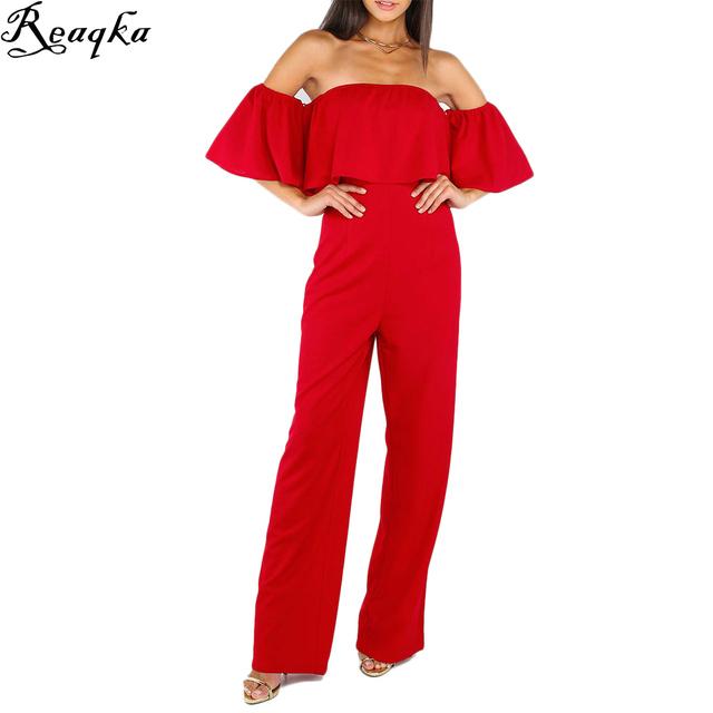 Plissado Elegante Rompers Mulheres Jumpsuit 2016 Nova Moda Off The Shoulder Bodysuit Romper Playsuits Calças Compridas de Boot Cut Plus Size