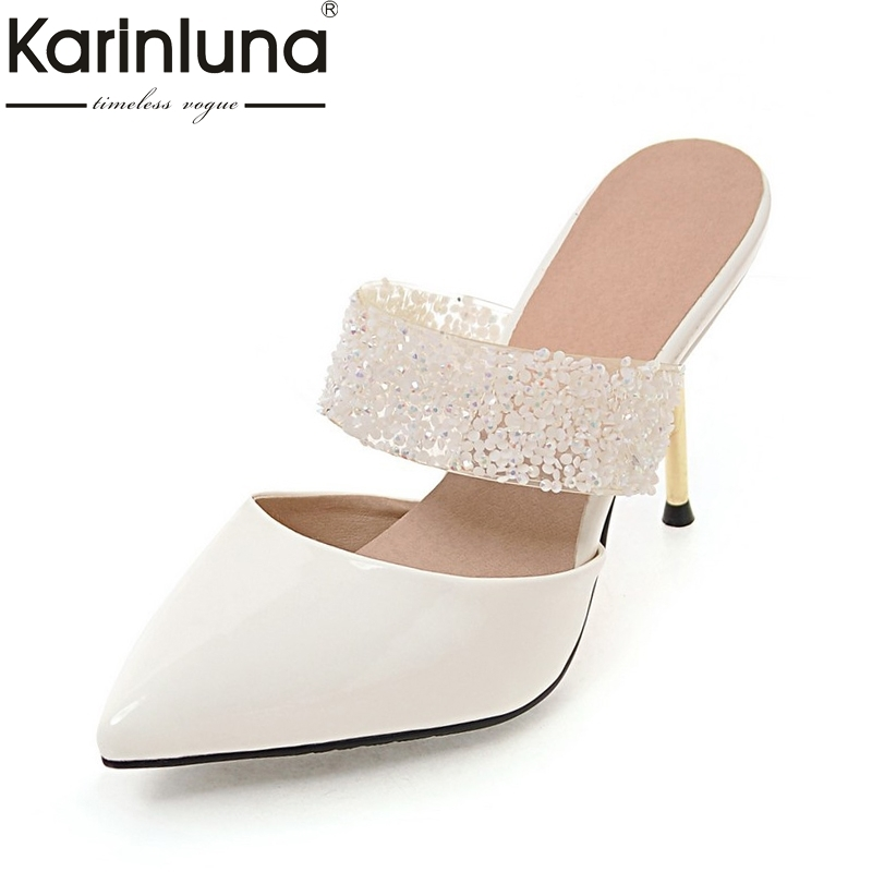 KarinLuna Plus Size 32-43 Pointed Toe Thin High Heels Women Shoes Pumps Woman Sexy Party Wedding Bride Mules Shoes Woman bowknot pointed toe women pumps flock leather woman thin high heels wedding shoes 2017 new fashion shoes plus size 41 42