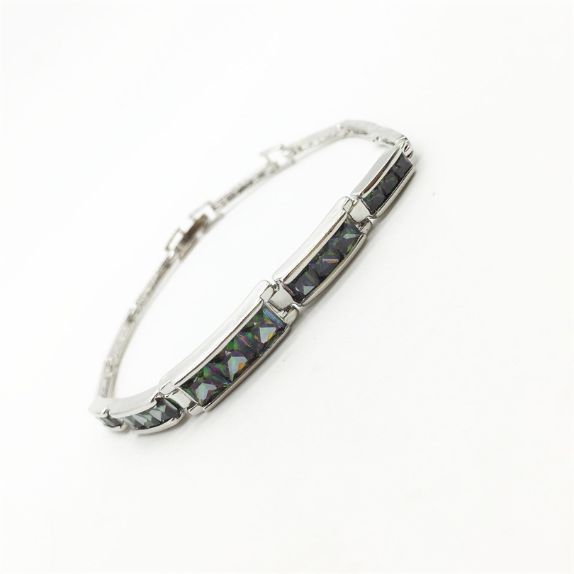 Free Shipping Rainbow Mystic color 925 Sterling Silver Overlay Womens Bracelet & Brangle