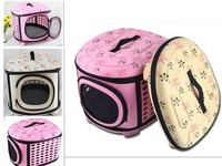 Dogs Cats Travel Bag Folding Small Pets Carrier Flower Print Travel Cage Collapsible Crate Tote Handbag
