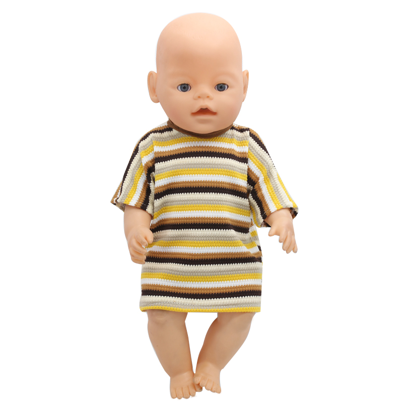 ef8102dc2 Baby Doll Clothes 6 Colors Short Sleeves Striped Dress Fit 43cm Baby Doll  Accessories Girl Birthday