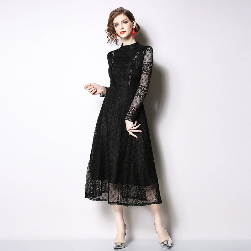 New retro stitching elegant temperament slim lace dress women 39 s party dress in Dresses from Women 39 s Clothing