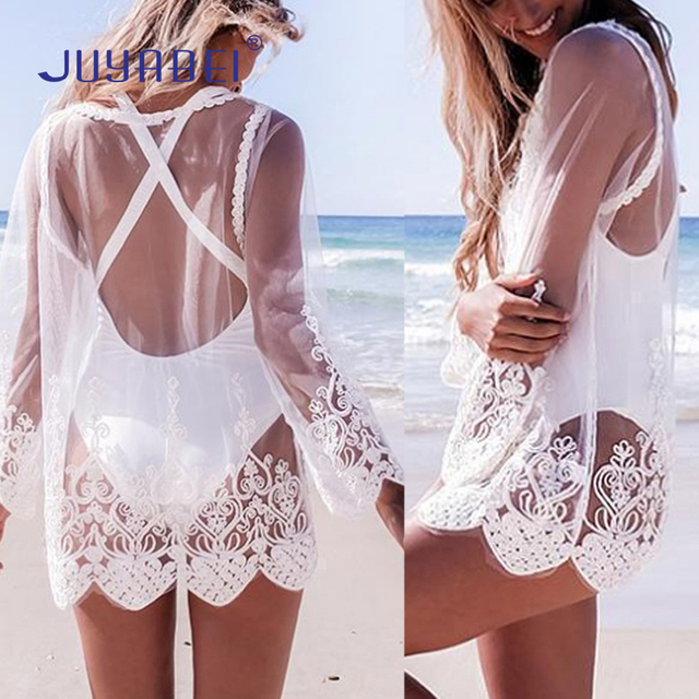 4eda2931fe ... Cover-ups Special Offers. Special Offers JUYABEI Sexy Women Hollow Out  Transparent Lace Embroidery Floral Long Sleeve O Neck Beach