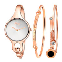 2018Fashion Watches Women Gold Rhinestone Bangle Watch And Bracelet Set Wristwatches Female Gold Dress Watch s feminino #0621